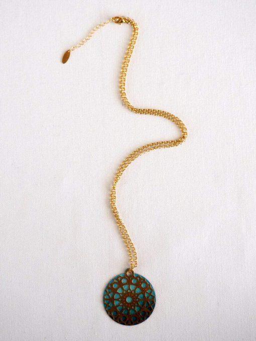 שרשרת פרח קוסמי טורקיז