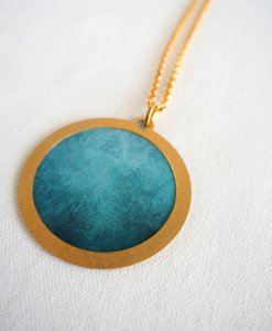 Round cosmic turquoise necklace