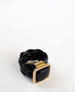 Black urban leather ring