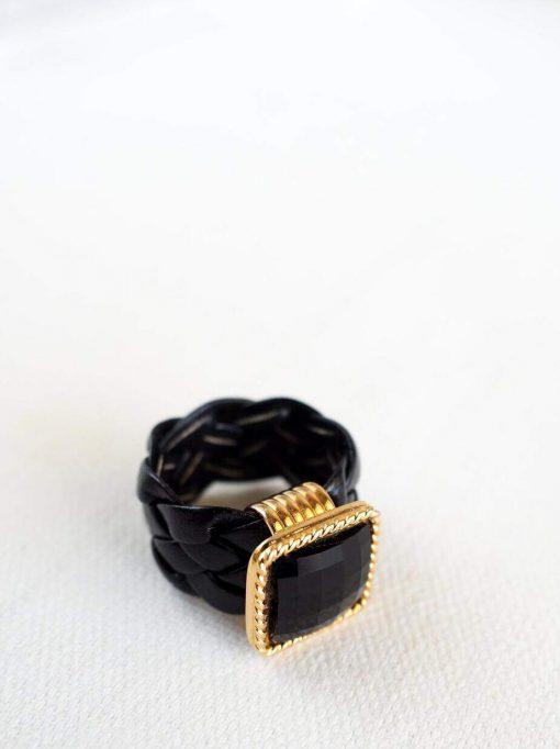 טבעת עור אורבנית שחורה