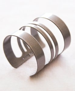 Wide striped gray striped bracelet