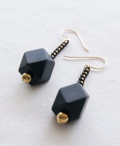 Molecular earrings colored black gold