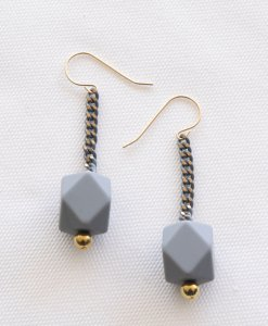 Gray colored molecule earrings