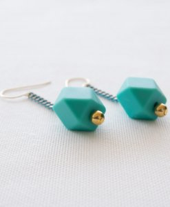Colored turquoise colored gold earrings