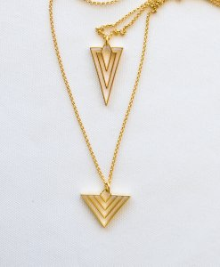 "Long double chain ""geometric charm"" gilded"