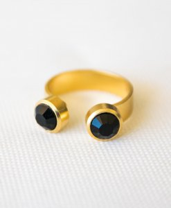 """""""Double Pan"""" ring gold black"""